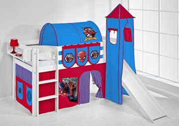 Spielbett JELLE 90 x 190 cm Spiderman - Hochbett LILOKIDS - weiß - mit Turm, Rutsche und Vorhang - 2