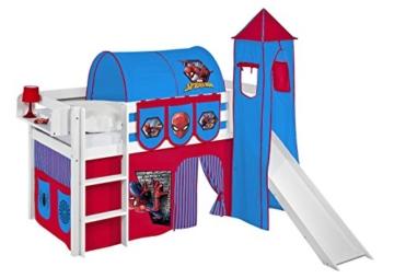 Spielbett JELLE 90 x 190 cm Spiderman - Hochbett LILOKIDS - weiß - mit Turm, Rutsche und Vorhang - 1