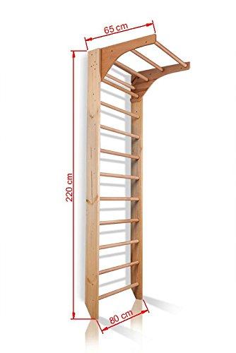 Sprossenwand mit höhenverstellbarer Stange ˝Kombi-1-220˝ Kletterwand Turnwand Fitness Sportgerät Klettergerüst Holz - 2