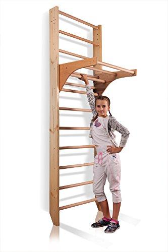 Sprossenwand mit höhenverstellbarer Stange ˝Kombi-1-220˝ Kletterwand Turnwand Fitness Sportgerät Klettergerüst Holz - 4