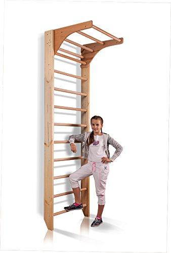 Sprossenwand mit höhenverstellbarer Stange ˝Kombi-1-220˝ Kletterwand Turnwand Fitness Sportgerät Klettergerüst Holz - 5
