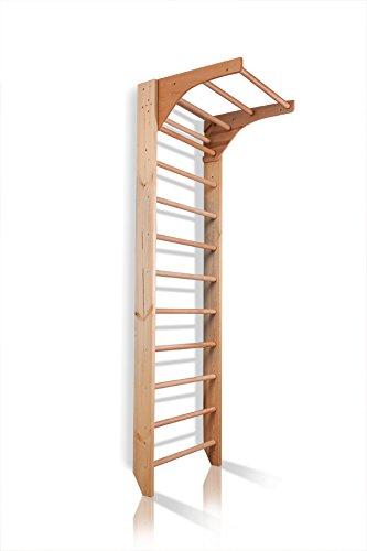Sprossenwand mit höhenverstellbarer Stange ˝Kombi-1-220˝ Kletterwand Turnwand Fitness Sportgerät Klettergerüst Holz - 1