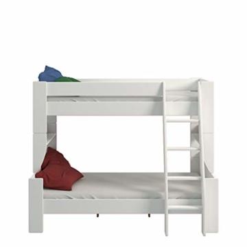 Steens 2916360050001N For Kids Kinderbett, Etagenbett, 145 x 206 x 164 cm, inkl. Lattenrost und Absturzsicherung, Liegeflächen 90 x 200 cm & 120 x 200 cm, MDF, weiß - 2