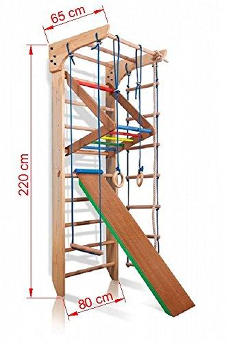 Turnwand Kinder Gym Klettergerüst ˝Kinder-3-220-Farbe˝ Holz Sportgerät Kletterwand Sprossenwand mit Stange Fitness - 2
