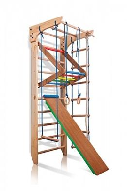 Turnwand Kinder Gym Klettergerüst ˝Kinder-3-220-Farbe˝ Holz Sportgerät Kletterwand Sprossenwand mit Stange Fitness - 1