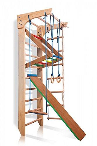 Turnwand Kinder Gym Klettergerüst ˝Kinder-3-220-Farbe˝ Holz Sportgerät Kletterwand Sprossenwand mit Stange Fitness - 4