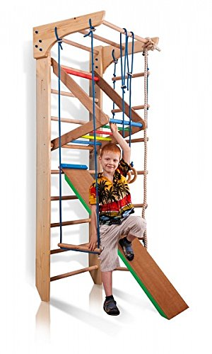Turnwand Kinder Gym Klettergerüst ˝Kinder-3-220-Farbe˝ Holz Sportgerät Kletterwand Sprossenwand mit Stange Fitness - 5