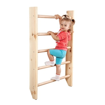 Turnwand Kinder Gym Klettergerüst ˝Kinder-3-220-Farbe˝ Holz Sportgerät Kletterwand Sprossenwand mit Stange Fitness - 8