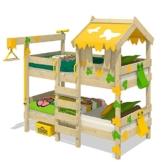 WICKEY Etagenbett CrAzY Ivy Spielbett für 2 Kinder Hochbett mit Dach, Kletterleiter und Lattenboden, gelb-apfelgrün, 90x200 cm - 1