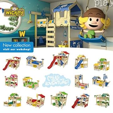 WICKEY Hochbett mit Rutsche CrAzY Smoky Kinderbett 90 x 200 Spielbett Kinder mit Lattenboden und viel Zubehör, Polizeibett, blaue Plane + blaue Rutsche - 3
