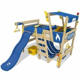WICKEY Hochbett mit Rutsche CrAzY Smoky Kinderbett 90 x 200 Spielbett Kinder mit Lattenboden und viel Zubehör, Polizeibett, blaue Plane + blaue Rutsche - 1
