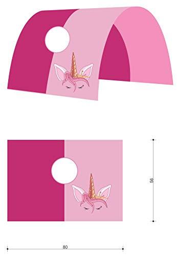 XXL Discount Tunnel für Kinderbett 100% Baumwolle Baldachin Dach Bettdach Himmel für Hochbett Spielbett Etagenbett Kinderbett (Rosa/Pink, Einhorn, Weiße Holzhalter) - 2