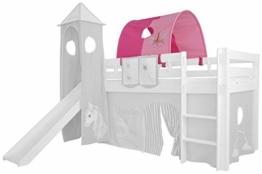 XXL Discount Tunnel für Kinderbett 100% Baumwolle Baldachin Dach Bettdach Himmel für Hochbett Spielbett Etagenbett Kinderbett (Rosa/Pink, Einhorn, Weiße Holzhalter) - 1