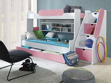 Etagenbett Segan Hochbett mit Bettkasten, Farbauswahl, Modern Bett für Kinderzimmer (Weiß/Rosa, ohne Matratze) - 4