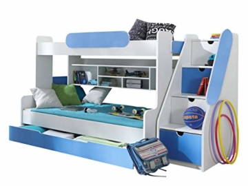 Etagenbett Segan Hochbett mit Bettkasten, Farbauswahl, Modern Bett für Kinderzimmer (Weiß/Blau, ohne Matratze) - 1
