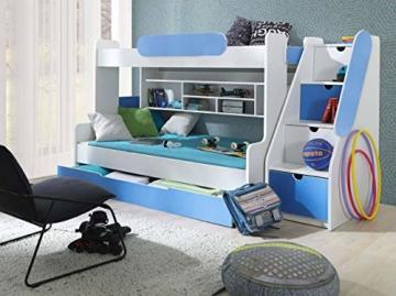Etagenbett Segan Hochbett mit Bettkasten, Farbauswahl, Modern Bett für Kinderzimmer (Weiß/Blau, ohne Matratze) - 2