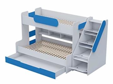 Etagenbett Segan Hochbett mit Bettkasten, Farbauswahl, Modern Bett für Kinderzimmer (Weiß/Blau, ohne Matratze) - 3