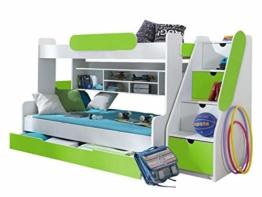 Etagenbett Segan Hochbett mit Bettkasten, Farbauswahl, Modern Bett für Kinderzimmer (Weiß/Grün, ohne Matratze) - 1