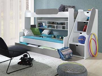 Etagenbett Segan Hochbett mit Bettkasten, Farbauswahl, Modern Bett für Kinderzimmer (Weiß/Graphit, ohne Matratze) - 3