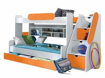Etagenbett Segan Hochbett mit Bettkasten, Farbauswahl, Modern Bett für Kinderzimmer (Weiß/Orange, ohne Matratze) - 1