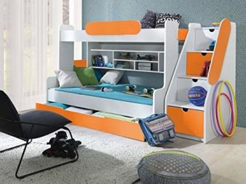 Etagenbett Segan Hochbett mit Bettkasten, Farbauswahl, Modern Bett für Kinderzimmer (Weiß/Orange, ohne Matratze) - 2