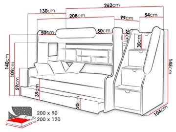 Etagenbett Segan Hochbett mit Bettkasten, Farbauswahl, Modern Bett für Kinderzimmer (Weiß/Orange, ohne Matratze) - 4