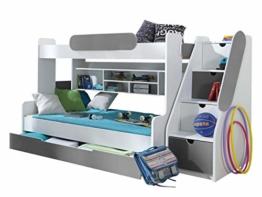 Etagenbett Segan Hochbett mit Bettkasten, Farbauswahl, Modern Bett für Kinderzimmer (Weiß/Graphit, ohne Matratze) - 1