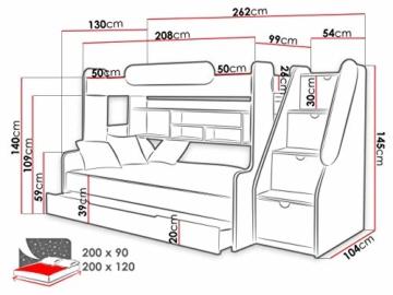Etagenbett Segan Hochbett mit Bettkasten, Farbauswahl, Modern Bett für Kinderzimmer (Weiß/Graphit, ohne Matratze) - 4