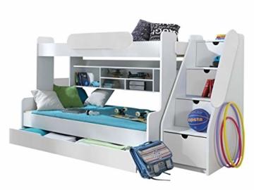Etagenbett Segan Hochbett mit Bettkasten, Farbauswahl, Modern Bett für Kinderzimmer (Weiß/Weiß, ohne Matratze) - 1