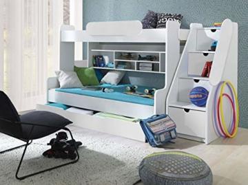 Etagenbett Segan Hochbett mit Bettkasten, Farbauswahl, Modern Bett für Kinderzimmer (Weiß/Weiß, ohne Matratze) - 3