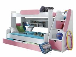Etagenbett Segan Hochbett mit Bettkasten, Farbauswahl, Modern Bett für Kinderzimmer (Weiß/Rosa, ohne Matratze) - 1
