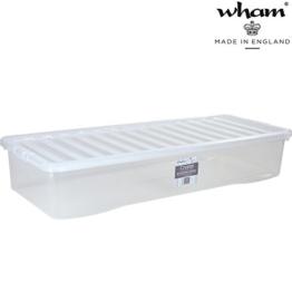Unterbettbox mit Deckel transparent lebensmittelecht 55 Liter Stapelbar Aufbewahrungs Box Unterbett Kiste Multifunktions Box Unterbettkommode lange Kommode flach Kunststoff Plastikbox Organizer Büro - 1