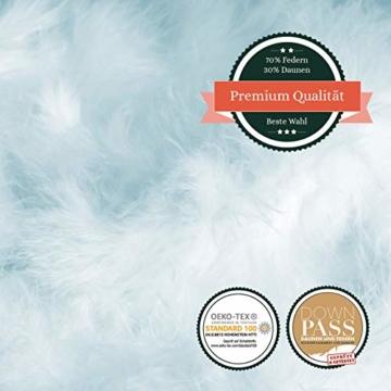 VOYAL LINNEN Wiener WOLKENPOLSTER/Premium Federkissen / 80 x 80 cm/mittlere Füllmenge/zertifizierte Füllung/atmungsaktiv/Hausstaballergiker geeignet - 3