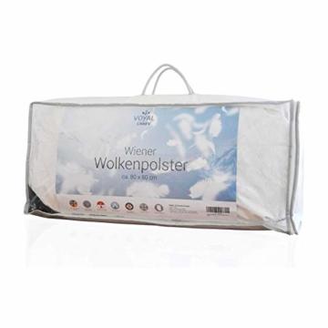 VOYAL LINNEN Wiener WOLKENPOLSTER/Premium Federkissen / 80 x 80 cm/mittlere Füllmenge/zertifizierte Füllung/atmungsaktiv/Hausstaballergiker geeignet - 6