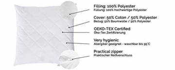 ZOLLNER Allergiker Kopfkissen mit Reißverschluss, 80x80 cm, 840g, Mikrofaser - 2