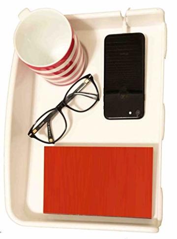 AntCrush Nachttischablage zum Anklipsen, mit integriertem Getränkehalter und Telefon-Kabelschlitz mit erhöhten Seiten, ideal für Studenten - 2