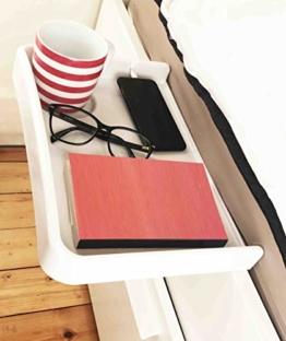 AntCrush Nachttischablage zum Anklipsen, mit integriertem Getränkehalter und Telefon-Kabelschlitz mit erhöhten Seiten, ideal für Studenten - 1