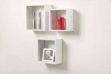 Duraline 3TC Dekoratives Wandregal, MDF, Weiß, 30 x 12 x 30 cm - 2