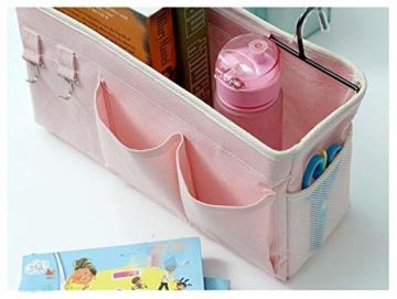 E EBETA Bett Organizer Bett Tasche mit Darhthaken Hängetasche Hochbett Aufbewahrungstasche für Buch, Magazin, Handy, Kopfhörer Bett Aufbewahrung(Weiß) - 4