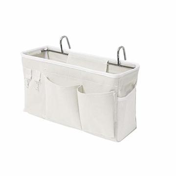 E EBETA Bett Organizer Bett Tasche mit Darhthaken Hängetasche Hochbett Aufbewahrungstasche für Buch, Magazin, Handy, Kopfhörer Bett Aufbewahrung(Weiß) - 1