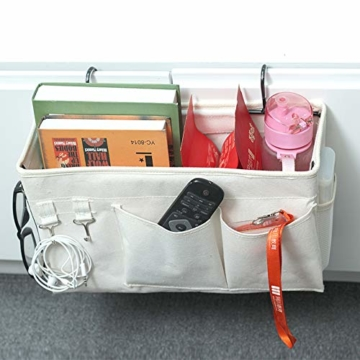E EBETA Bett Organizer Bett Tasche mit Darhthaken Hängetasche Hochbett Aufbewahrungstasche für Buch, Magazin, Handy, Kopfhörer Bett Aufbewahrung(Weiß) - 5