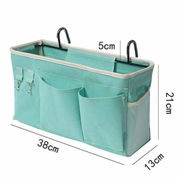 E EBETA Bett Organizer Bett Tasche mit Darhthaken Hängetasche Hochbett Aufbewahrungstasche für Buch, Magazin, Handy, Kopfhörer Bett Aufbewahrung(Weiß) - 6