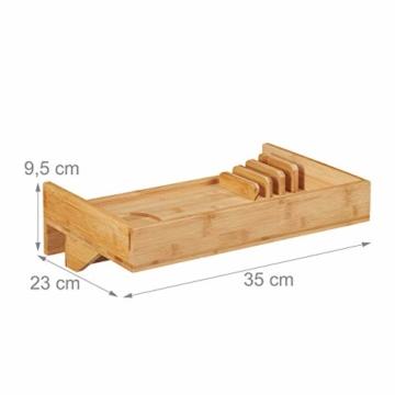 Relaxdays Bettablage, Mini-Nachttisch zum Anklemmen, aus Bambus, Getränkehalter D: 9 cm, platzsparender Organizer, Natur, Durchmesser - 3