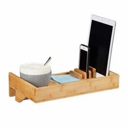 Relaxdays Bettablage, Mini-Nachttisch zum Anklemmen, aus Bambus, Getränkehalter D: 9 cm, platzsparender Organizer, Natur, Durchmesser - 1