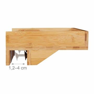 Relaxdays Bettablage, Mini-Nachttisch zum Anklemmen, aus Bambus, Getränkehalter D: 9 cm, platzsparender Organizer, Natur, Durchmesser - 4