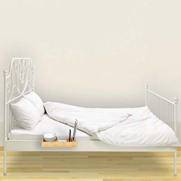 Relaxdays Bettablage, Mini-Nachttisch zum Anklemmen, aus Bambus, Getränkehalter D: 9 cm, platzsparender Organizer, Natur, Durchmesser - 5