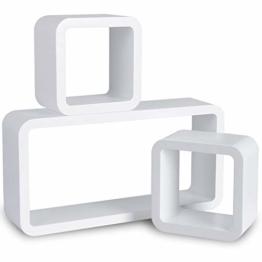 WOLTU 9210-a Wandregal Cube Regal 3er Set Bücherregal Regalsysteme, Retro Hängeregal Würfel, Weiß - 1