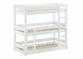 Erst-Holz® Weíßes Dreier-Etagenbett für Erwachsene Stockbett für DREI Personen 90x200 Kiefer weiß V-60.03-09W, Ausstattung:Rollrost inkl. - 1